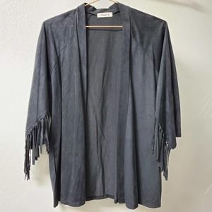 GINGER G | Black Open Front Fringe Cardigan Small